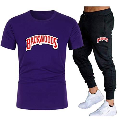 GIRLXV Camiseta De Backwoods para Hombre Camisa De Traje Estampada Pantalones Casuales Sudadera Que Absorbe La Humedad De Manga Superior De Gran Tamaño L
