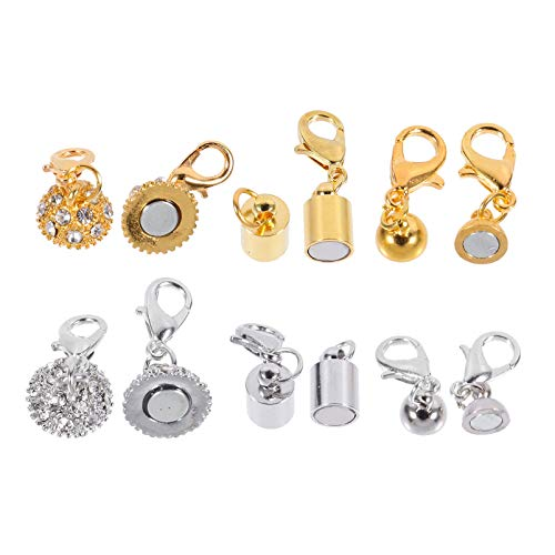 EXCEART 16pcs Magnetic Necklace Clasps Closure Chain Extender Jewelry Clasp Converter Pendant Connectors Connection Buckle for Jewelry Necklace Brcelet Anklet Making