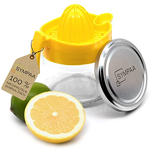 SYMPAA Zitronenpresse Glas manuelle Saftpresse Original Entsafter mit Deckel - Zitruspresse + Limettenpresse - Zitronenpressen und im Kühlschrank Aufbewahren - Nachhaltig Saft Pressen Citruspresse