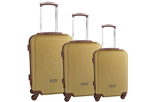 3 Maletas rígidas PIERRE CARDIN oro cabina para viajes S330