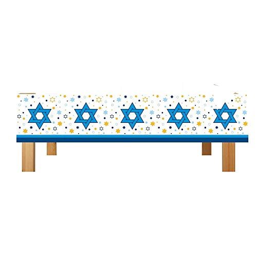 Hanukkah Tablecloth, Plastic Star of David Decoration, Holiday Party Supplies, Pack of 2, 54 x 108 Inches