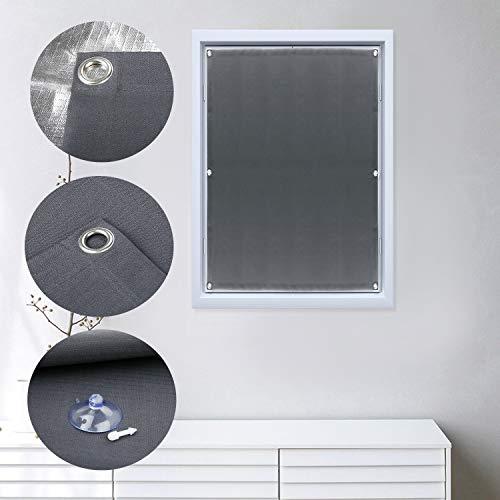 Dachfensterrollo mit Saugnäpfe Verdunkelungsvorhang für Velux 96x100cm Verdunkelungsrollo ohne Bohren tragbare Gardinen Sonnenschutz für Autofenster Dachfenster (grau)