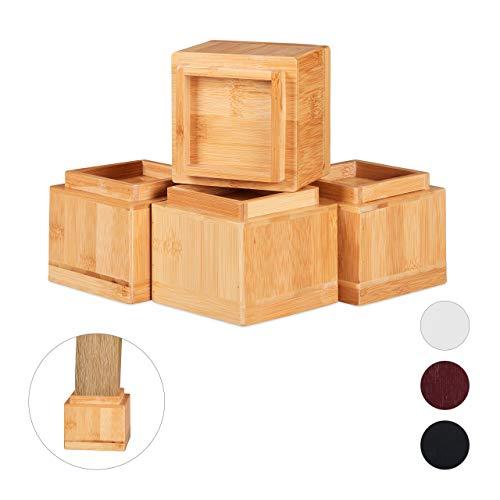 Relaxdays Möbelerhöher 4er Set, Erhöhung um 8,5 cm, für Tische, Stühle und andere Möbel, HxBxT 10x11,5x11,5 cm, Natur, 4 Stück