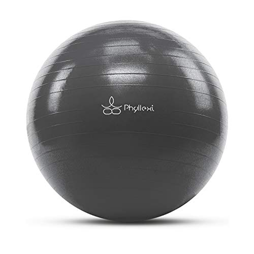PHYLLEXI Exercise Ball (55-85cm) Extra Thick Yoga Ball Chair-Pro Grade Anti-Burst Heavy Duty Stability Ball Supports 2200lbs,Birthing Ball with...