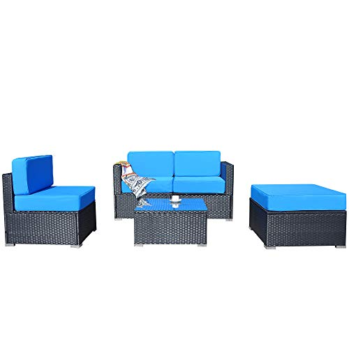 MCombo Patio Furniture Sectional Set Outdoor Wicker Sofa Lawn Garden Rattan Leisure Chair with Cushions and Tea Table 6082-5PC (Blue)
