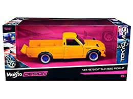 "1/24 scale collectible vehicle model This 1973 Datsun 620 Pickup is a 6.25""L x 2.25""W x 2""H model with some plastic parts opening hood, doors and tailgate Manufactured by Maisto Yellow"