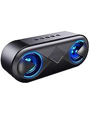 AKUSA Bluetooth スピーカー pc 高音質 重低音 充電式 大音量 usb マイク内蔵 LED ハンズフリー通話 ワイヤレス ステレオ 日本語取扱説明書付き (ブラック)