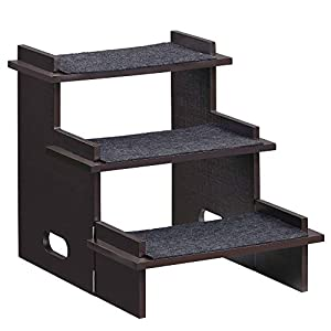 FEANDREA Bamboo Pet Steps, Pet Stairs for Dogs, Cats, with Anti-Slip Felt Pads, Easy to Assemble, 15.7 x 18.5 x 16.5 Inches, Brown UPPS001Z01