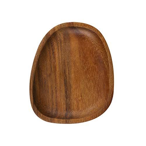 JSJJAWD Plato de Cena Placa de Madera Maciza de Madera Irregular de Madera Irregular de Madera Entera (Color : Brown)