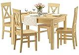 Erst-Holz® Klassische Essgruppe mit Tisch 80x120cm und 4 Stühle Kiefer Massivholz 90.70-51 A-Set 23