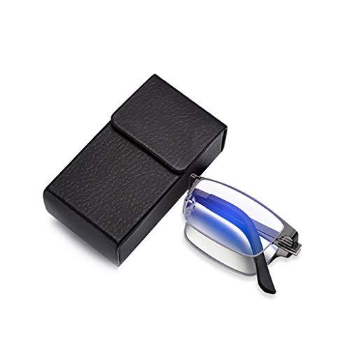 HLLZRY progressieve multifocale computer leesbril blauw licht blokkeren lente scharnier lezers vergrootglas compacte vouwbril voor mannen en vrouwen (1,0 tot 3,0)
