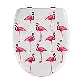 WENKO Premium WC-Sitz Flamingo - Antibakterieller Toiletten-Sitz mit Absenkautomatik, rostfreie Fix-Clip Hygiene Edelstahlbefestigung, Duroplast, 38 x 45 cm, Mehrfarbig