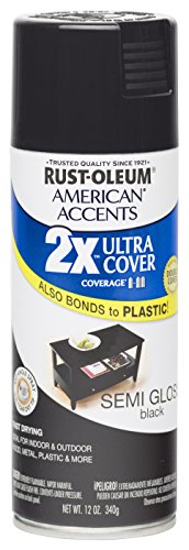 Rust Oleum 280721 American Accents Ultra Cover 2X Spray Paint, Semi-Gloss Black 12-Ounce