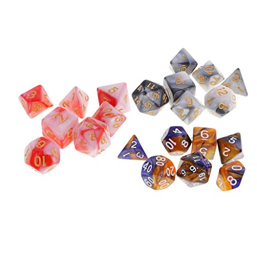 Amuzocity Crazy Dice Game 21 Dados Poliédricos - 2 Colores