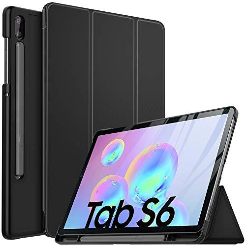 IVSO Custodia Cover per Samsung Galaxy Tab S6 10.5, Slim Smart Protettiva Custodia Cover in pelle PU per Samsung Galaxy Tab S6 SM-T860/T865 10.5 2019, Nero