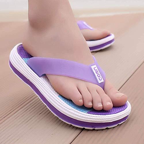 SANVINGLE Fascitis Plantar Verano Zapatillas Mujer Casual Duradero Masaje Flip Flops Sandalias de Playa Mujeres Zapatos de cuña a Rayas Habitación Dama Zapatillas