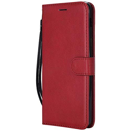 DENDICO Coque Galaxy A6 Plus, PU en Cuir Coque Portefeuille Étui Housse, Design Classique TPU Coque pour Samsung Galaxy A6 Plus - Rouge
