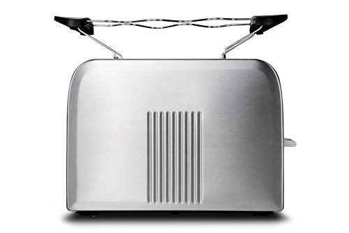 Medion MD 16232 Edelstahl-Toaster (870 Watt, Edelstahlgehäuse, Aufwärm-, Auftau- und Stopptaste, Bräunungsgrad-Regler) silber
