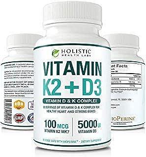 Sponsored Ad - Max Absorption Vitamin K2 + D3 (5000IU) 90 Veggie Capsules from MK-7 (Menaquinone-7) and Cholecalciferol (w...