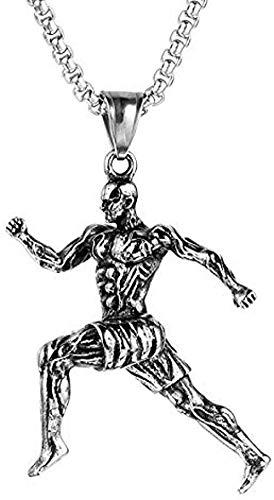 LBBYMX Co.,ltd Collar de Moda de Acero Inoxidable Run Fitness Bodybuilding Gym Muscle Man Hombres Collares Colgantes de Cadena para Hombre Novio Accesorios de joyería Regalo