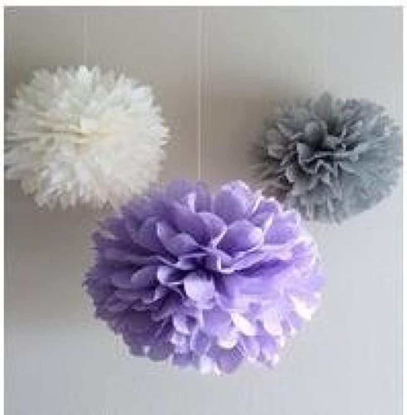 Since ? 12 Mixed White Lavener Gray Party Tissue Pompoms Paper Flower Pom Poms Wedding Birthday Nursery Baby Room Decoration Favor SIC-01753