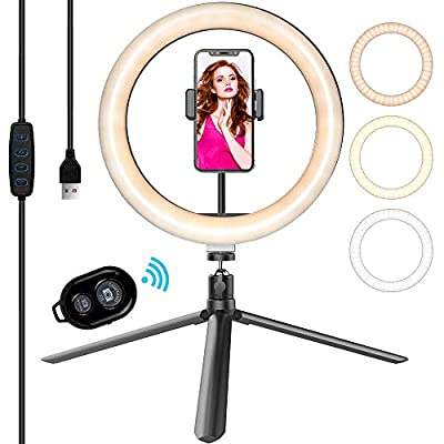 "10"" LED Selfie Ring Light with Tripod Stand..."