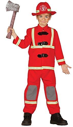 Costume Garçon Deluxe Rouge Pompier Services de Secours Emploi Uniforme Costume Déguisement 3-12 Ans - Rouge, Rouge, 5-6 Years