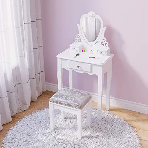 Mesa de Tocador Para Niños, Muebles de Dormitorio de Niñas Blancas Para 3, 4, 5, 6, 7, 8 Años de Edad, Estilo Europeo Princesa Blanco Tocador