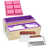 Silicone soap molds kit - 2 Pcs Flexible Rectangular Soap Silicone Mold 1 Pcs 6 Cavities Silicone Soap Mold with Wood Box, Stainless Steel Wavy & Straight Scraper for Soaps Making