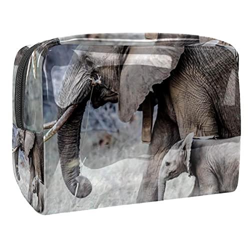 Bolso grande del maquillaje de las mujeres, impermeable del neceser del almacenamientoMadre Elefante con elefante bebé Para viajes, Organizadora de cosméticos