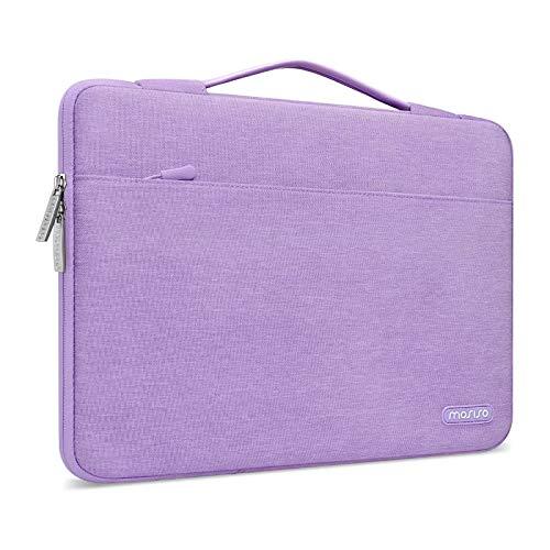 MOSISO 360 Schutz Laptop Aktentasche Kompatibel mit 13-13,3 Zoll MacBook Pro, MacBook Air, Notebook Computer, Polyester Stoßfeste Tasche mit Trolley Gürtel, Helles Lila