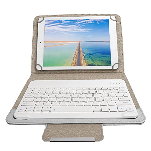 Dilwe Estuche para Teclado Bluetooth, Teclado Ultradelgado con Bluetooth, Teclado para Dispositivos Múltiples, Teclado Inalámbrico Recargable, Juego de Funda Universal para Tableta (Blanco)