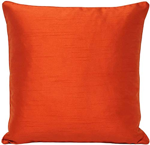 Riva Paoletti Fiji Cushion Cover - Burnt Orange - Faux Silk - Matching Piped Edges - Reversible - Hidden Zip Closure - 100% Polyester - Machine Washable - 43 x 43cm (17' x 17' inches)