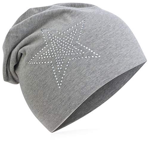 Baby Kinder Jersey Slouch Beanie Long Mütze mit Strass Stern Unisex Baumwolle Trend 2Stern-Grau-M