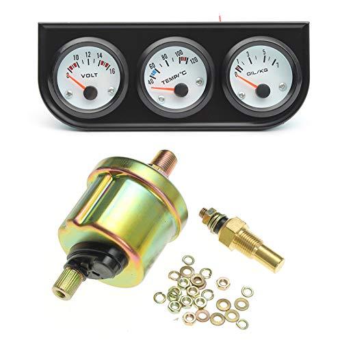 Sunydog Voltmètre/thermomètre à Eau monté sur véhicule 2 `` / 52mm 3 en 1 / manomètre de Pression d'huile 0-7 kg + Support Noir à 3 Trous