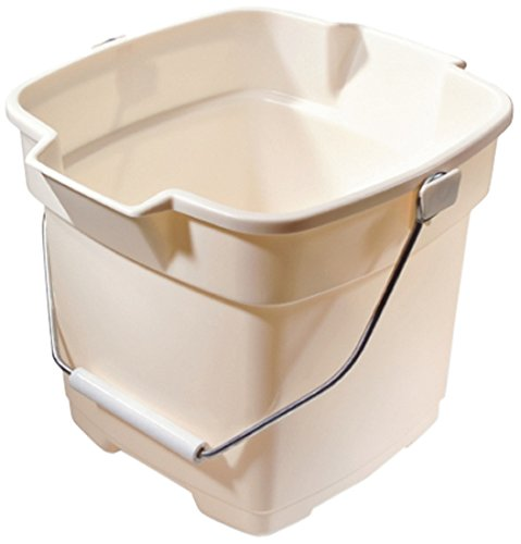 Rubbermaid Roughneck Square Bucket, 12-Quart, Bisque, Sturdy Pail Bucket Organizer Household Cleaning Supplies Projects Mopping Storage Comfortable Durable Grip Pour Handle
