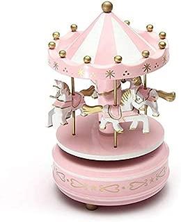 Whiteswanau Wooden Merry-Go-Round Carousel Music Box for Kids Toys Wedding Birthdays Gift Wind-Up Horse Fairground Musical Box