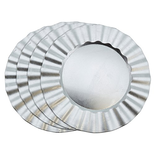 "SARO LIFESTYLE Collection Metallic Ruffle Design Round Charger Plate, 13"", Silver"