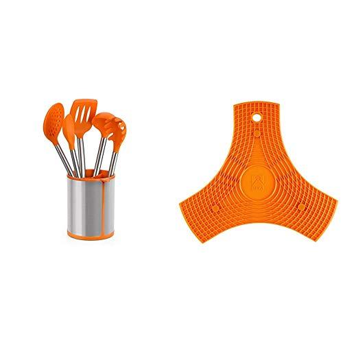 BRA Efficient Conjunto De 5 Utensilios De Cocina Y Carrusel, Acero INOX, Nailon y Silicona, Naranja, 14.5 x 15 x 37.5 cm + Salvamanteles, Silicona, Naranja, 2 Unidades