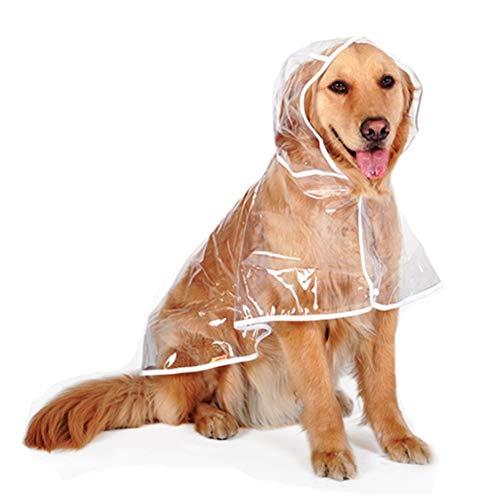 Hond regenjas Huisdier met Hoodie Puppy Pet Lichtgewicht Waterdichte Teddy Transparante Plastic Poncho voor Medium Grote hond, (Length48-68cm)