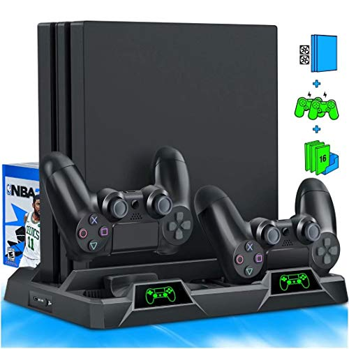 PS4 Stand Cooling Fan for PS4 Slim / PS4 Pro / Playstation 4, PS4 Pro Stand Vertical Stand Cooler with Dual Controller Charge Station & 16 Game Storage