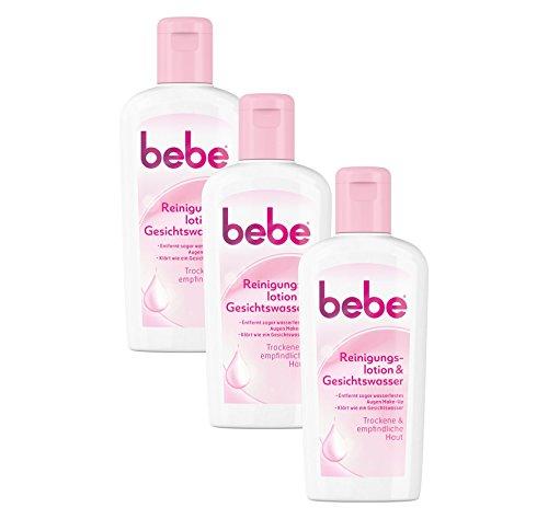 bebe Reinigungslotion & Gesichtswasser - Sanfte Gesichtsreinigung für empfindliche & trockene Haut - 3 x 200ml