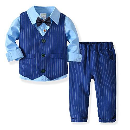 Zoerea 3 Pezzi Bambini Ragazzi Abbigliamento Set Camicia con Papillon + Gilet + Pantaloni, Bambino Ragazzo Gentleman Nozze Smoking Battesimo Abito Strisce Blu Completino Blu, Etichetta 80