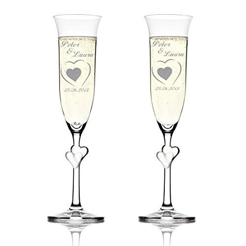 Stölzle Lausitz Amour Ensemble de 2 coupes à champagne avec gravure personnalisée motif – Dans le Grand Cœur Petit Cœur