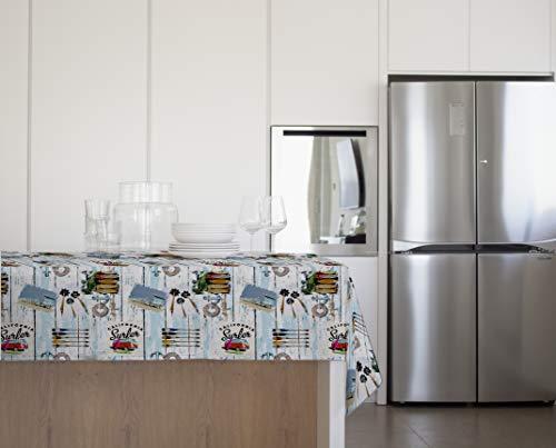 GEMITEX - Mantel de Verano Surf Felpata Plus 140 x 240 Decoro 4109, Ideal para mesas de Exterior, Fiestas y Fiestas, Fabricado en Italia, PVC