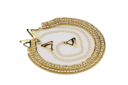 Rhinestone bra invisible shoulder strap diamond underwear bra anti - skid shoulder strap, Gold, One Size