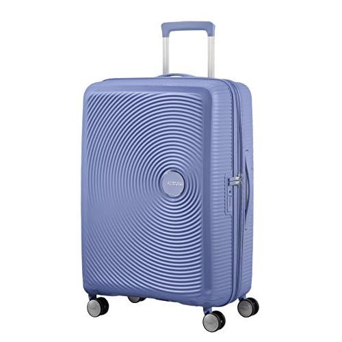 AMERICAN TOURISTER Soundbox - Spinner M Espandibile Bagaglio a Mano, Spinner M (67 cm - 81 L), Blu (Denim Blue)