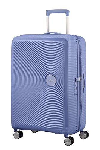AMERICAN TOURISTER Soundbox - Spinner M Espandibile Bagaglio a Mano, Spinner M (67 cm - 81 L), Blu (Denim Blue)