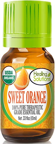 Organic Sweet Orange Essential Oil (100% Pure - USDA Certified Organic) Best Therapeutic Grade Essential Oil - 10ml