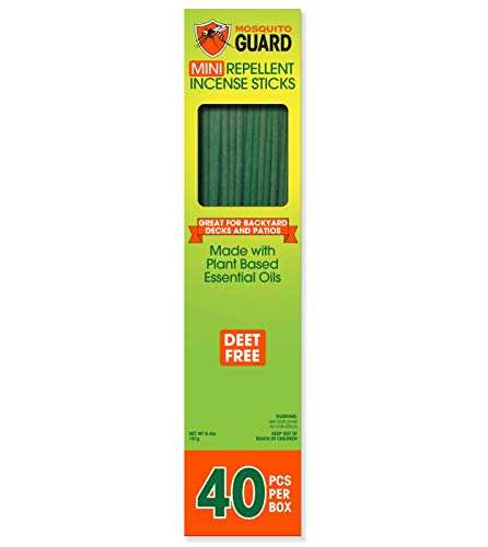 Mosquito Guard Incense Repellent Sticks – Made with Natural Plant Based Ingredients: Citronella, Lemongrass & Rosemary Oil - 40 Pack - Deet Free